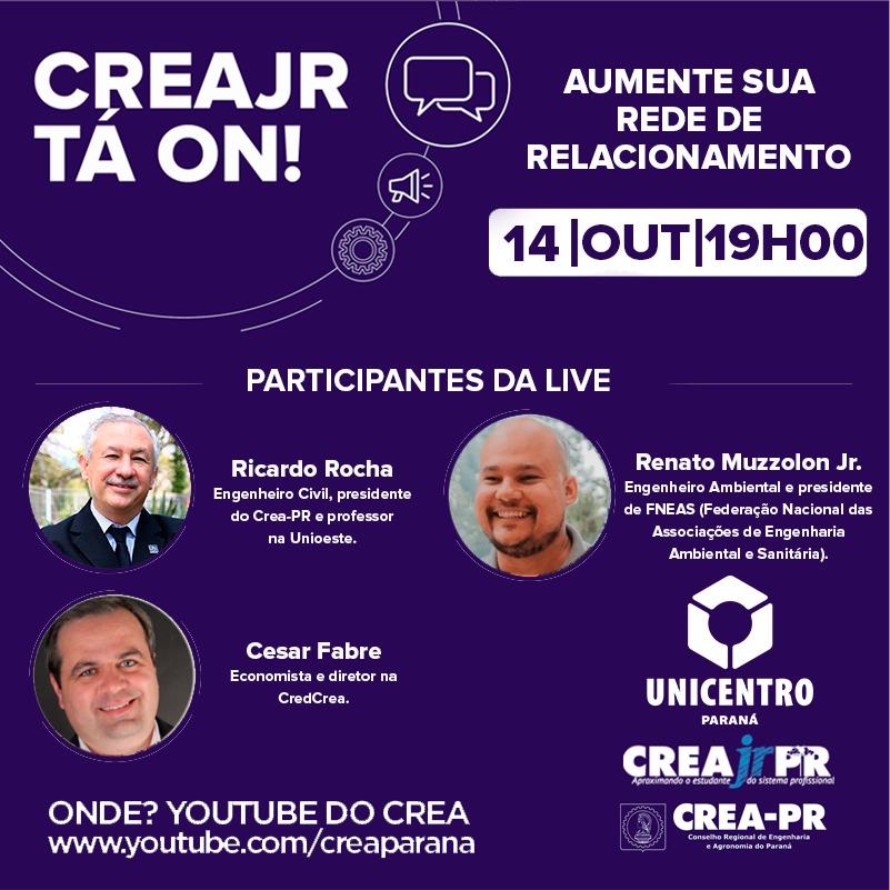 CreaJr tá on! Live do CreaJr-PR será realizada dia 14/10